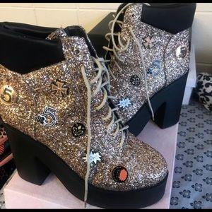 Cape Robbin Gold Glitter Sequin Chunky Heels